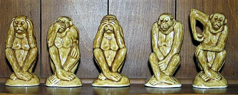 five wise no evil monkeys. Black Bedroom Furniture Sets. Home Design Ideas